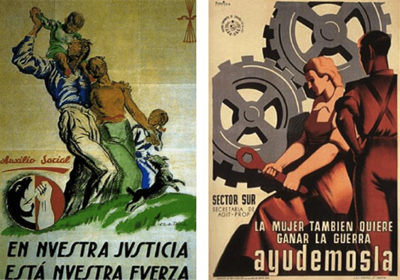 El uso de la mujer en la publicidad, carteles conflicto bélico