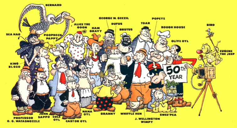 Popeye se incorporó más tarde en la tira de cómics timble theatre