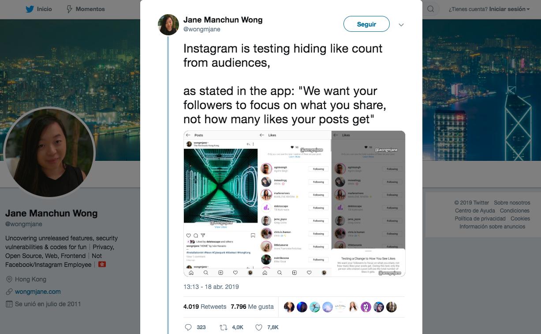 Instagram sin likes - tweet Jane Wong